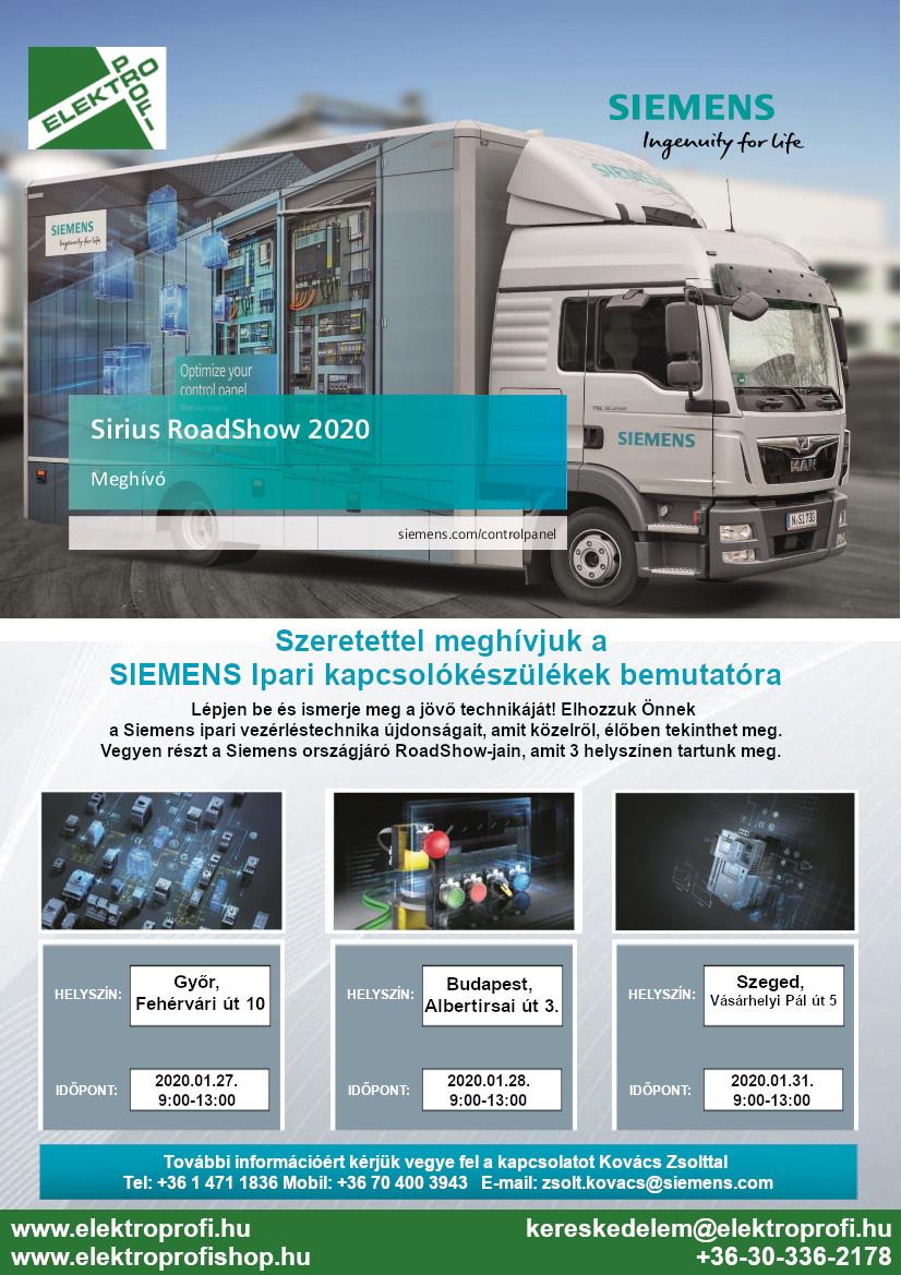 Siemens Sirius RoadShow 2020 meghívó