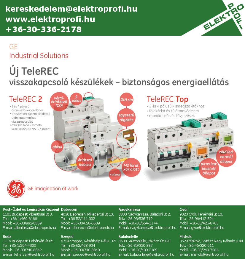 GE Industrial Solutions - TeleREC visszakapcsoló készülékek