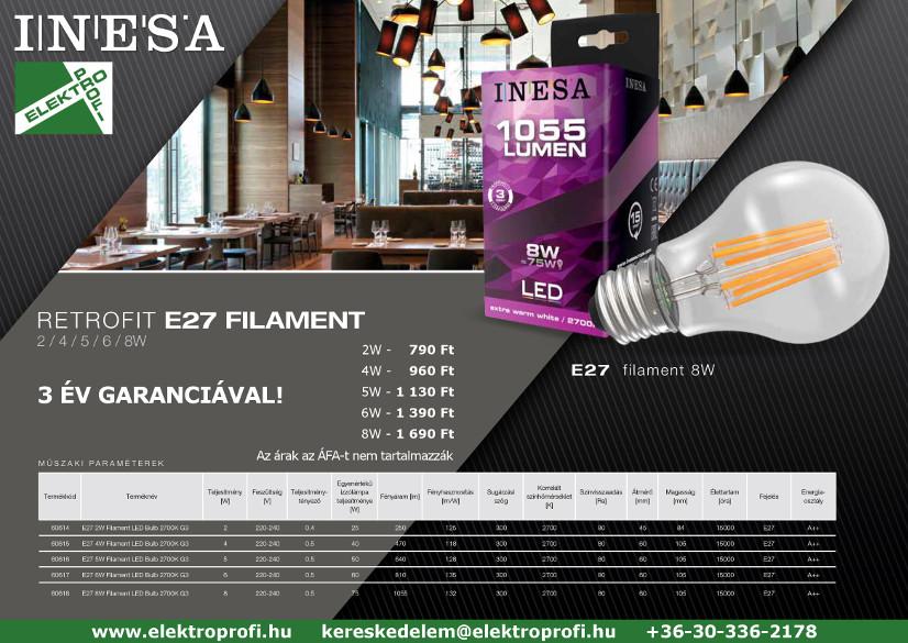 INESA retrofit E27 filament 3 év garanciával
