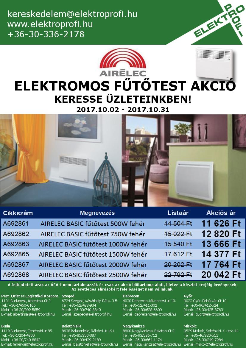 AIRELEC elektromos fűtőtest akció