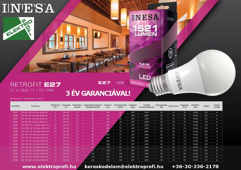 INESA retrofit E27 3 év garanciával