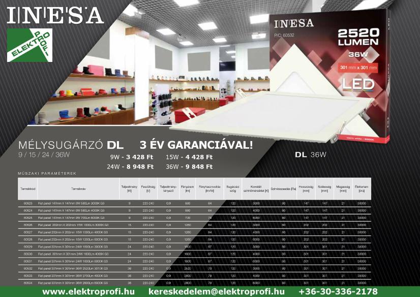 INESA mélysugárzó - 3 év garanciával