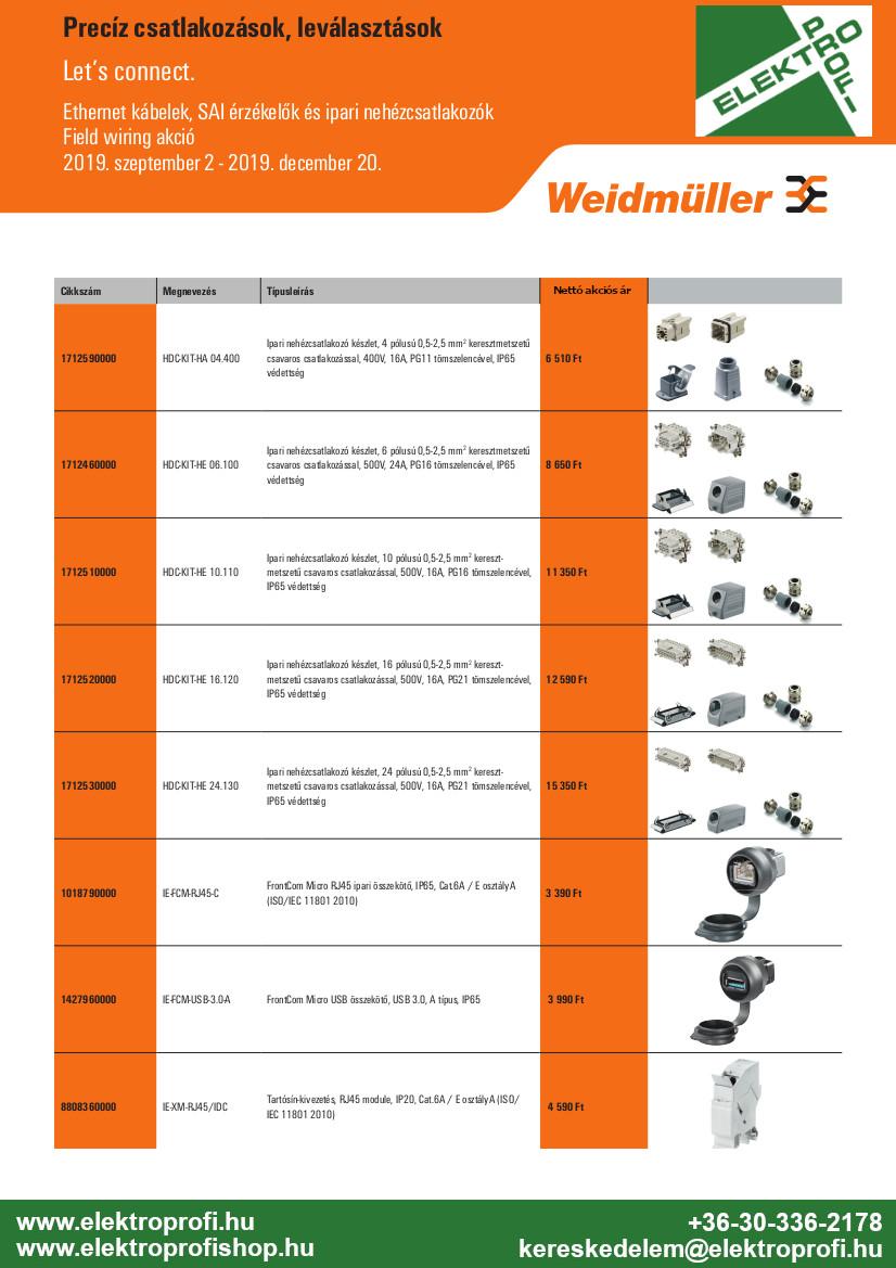 Weidmüller Field wiring akció